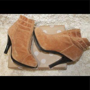 Michael Kors Tan Suede Zip Up Ankle Heel Boots